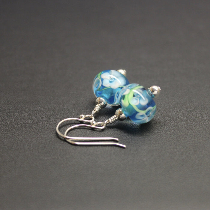 Viennese Floral Lampwork Earrings (Baby Blue)