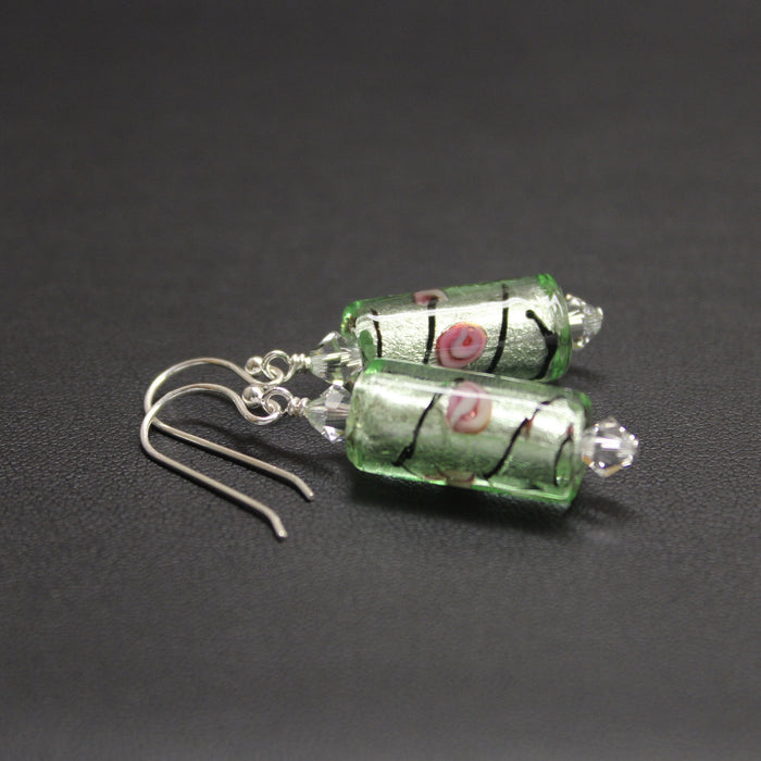 Viennese Floral Lampwork & Crystal Earrings (Mint Magic)