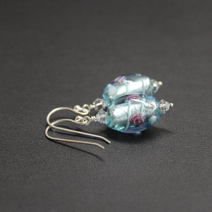 Viennese Rose Lampwork Glass Earrings (Blue)
