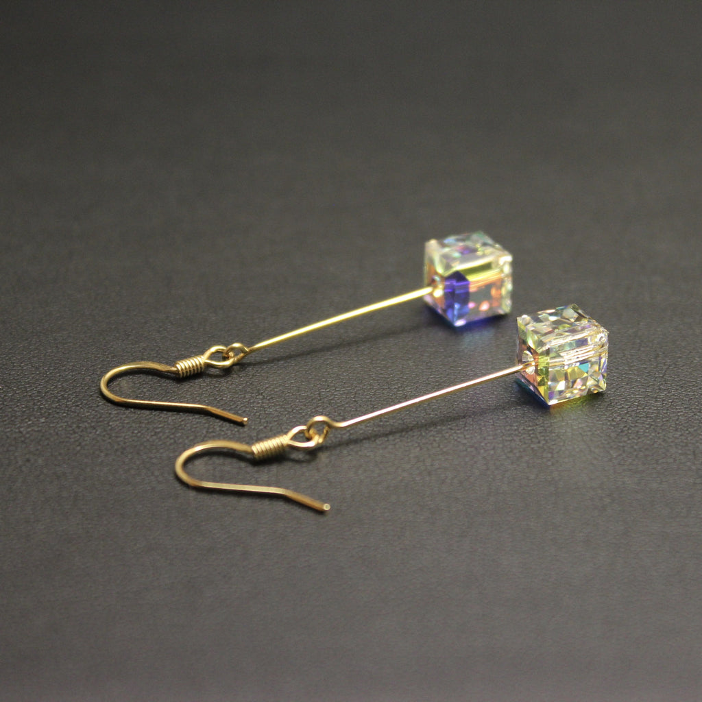 Tango Swarovski Cube Drop Earrings (Aurora Borealis) in Gold