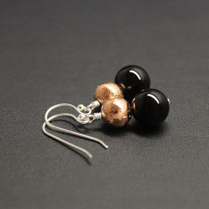 Chacha Onyx & Copper Duo Drop Earrings