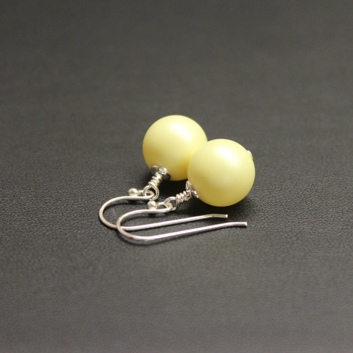 Vogue Bud Drop Pearl Earrings (Pastel Yellow)