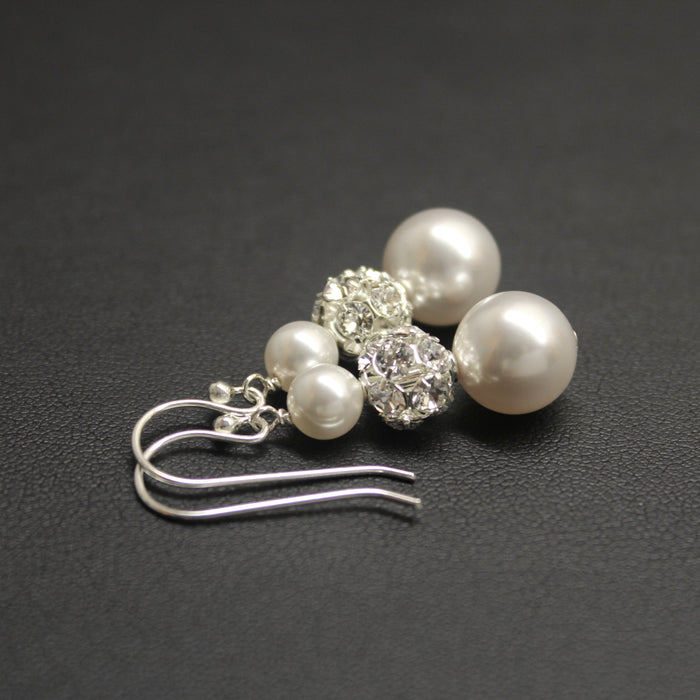 Bolero Crystal & Pearl Trio Earrings