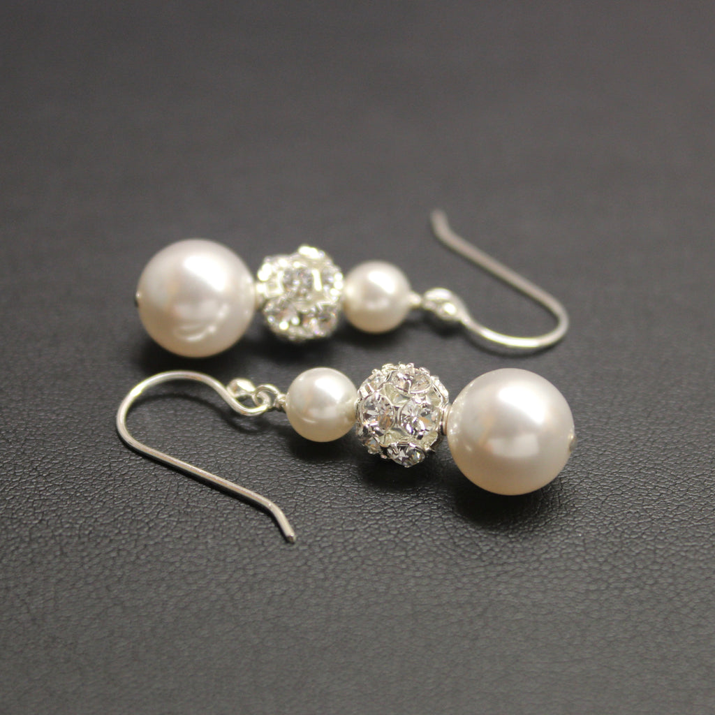 Bridal Sterling Silver, Crystal & Pearl Trio Earrings