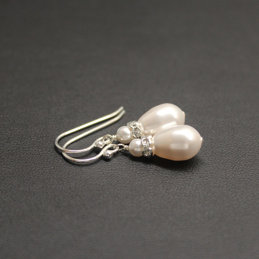 Classical Luxe White Crystal Pearl Dew Drop Earrings