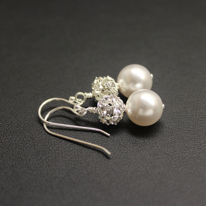 Bridal Sterling Silver, Crystal & Pearl Duo Earrings