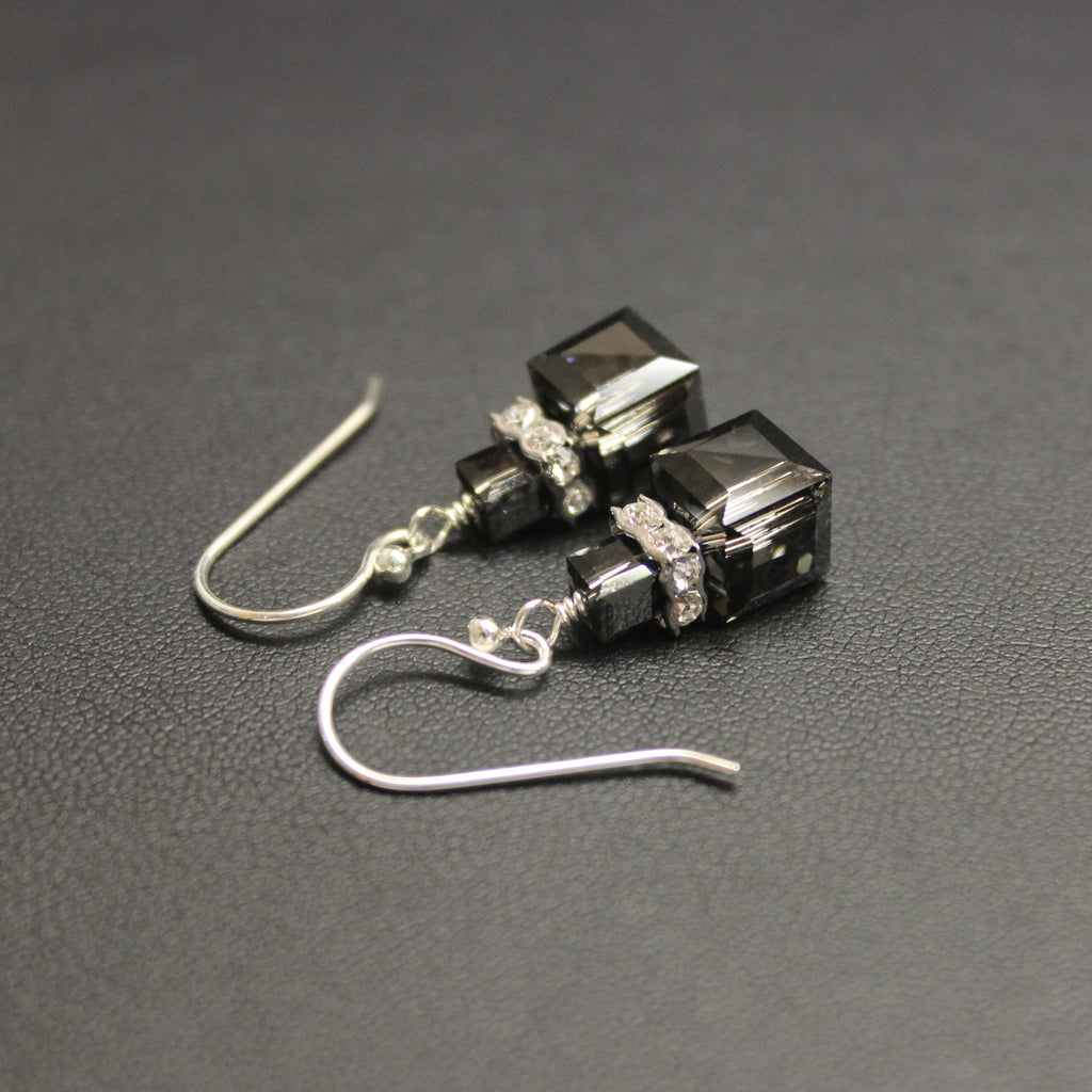 Swarovski Crystal Cube Luxe Drop Earrings (Silver Nights)