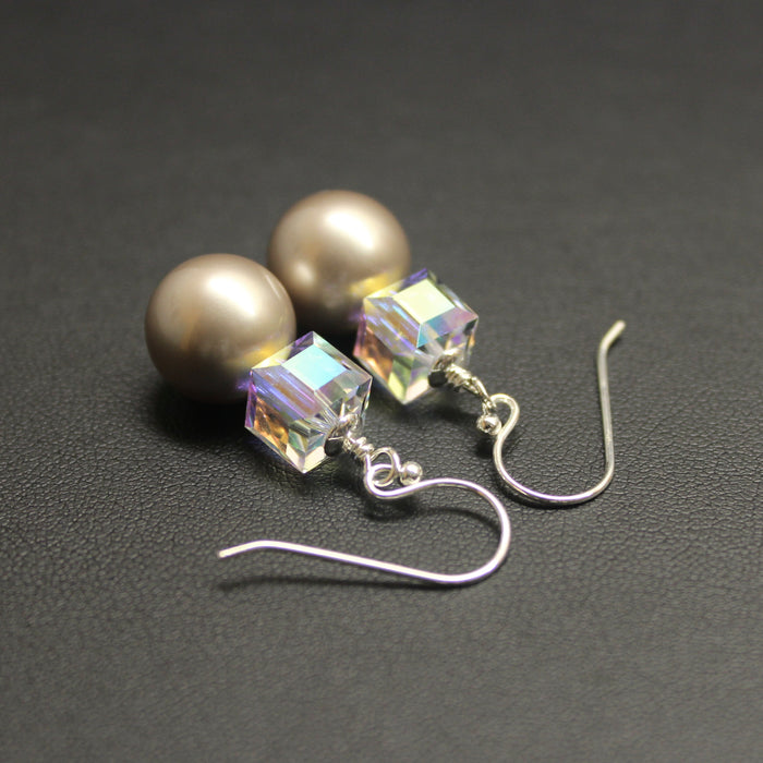Aurora Borealis Swarovski Cube & Platinum Pearl Earrings