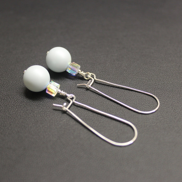 Tango Swarovski Cube/Pearl Long Earrings (Pastel Blue & Aurora)