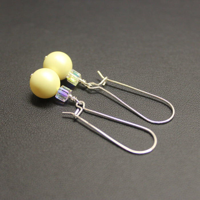Tango Swarovski Cube/Pearl Elongated Drop Earrings (Pastel Yellow & Aurora)