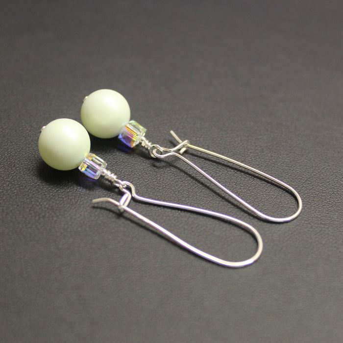 Tango Swarovski Cube/Pearl Elongated Drop Earrings (Pastel Green & Aurora)