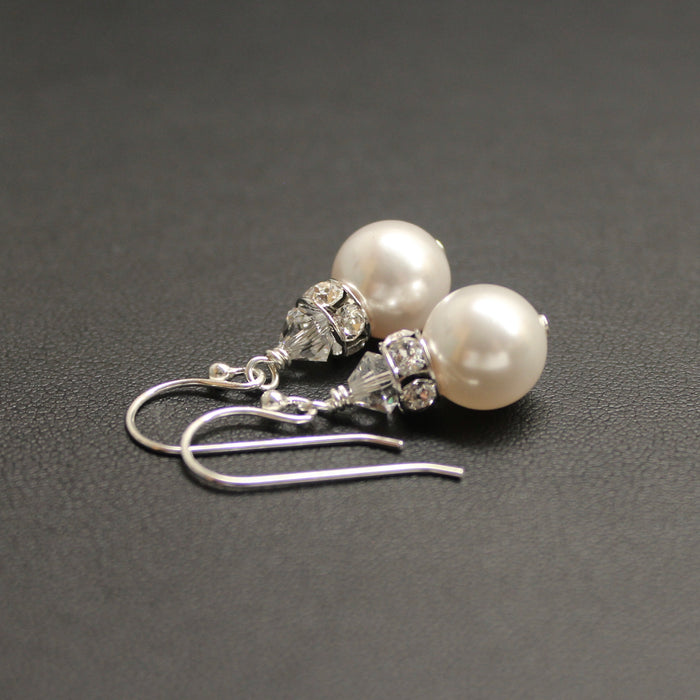 Classical Luxe Swarovski Pearl Earrings (White)