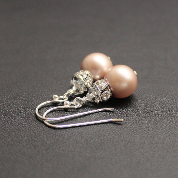 Viennese Swarovski Pearl Luxe Earrings (Almond Pink)