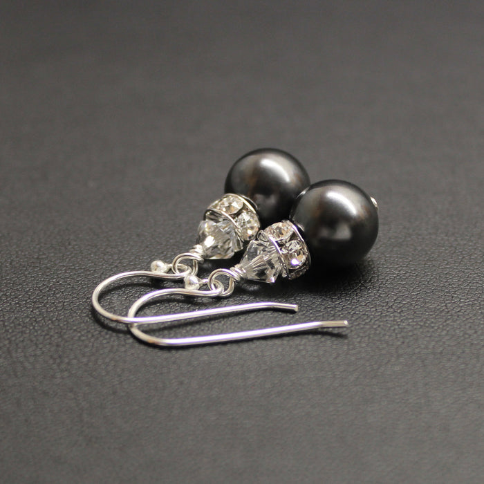 Classical Luxe Swarovski Pearl Earrings (Charcoal Black)
