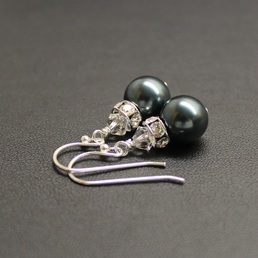 Classical Luxe Swarovski Pearl Earrings (Tahitian)