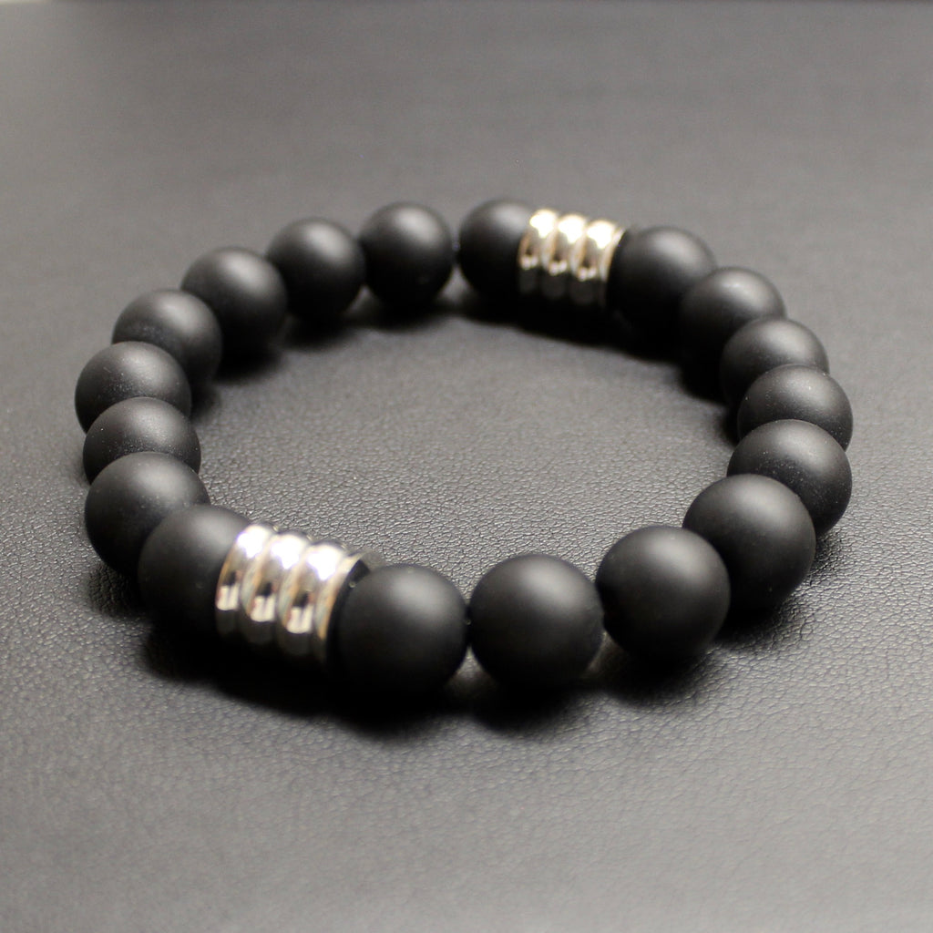 Mens | Matte Black Onyx & Stainless Steel Bracelet