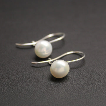 Waltz Freshwater Pearl Sterling Silver Earrings (White)