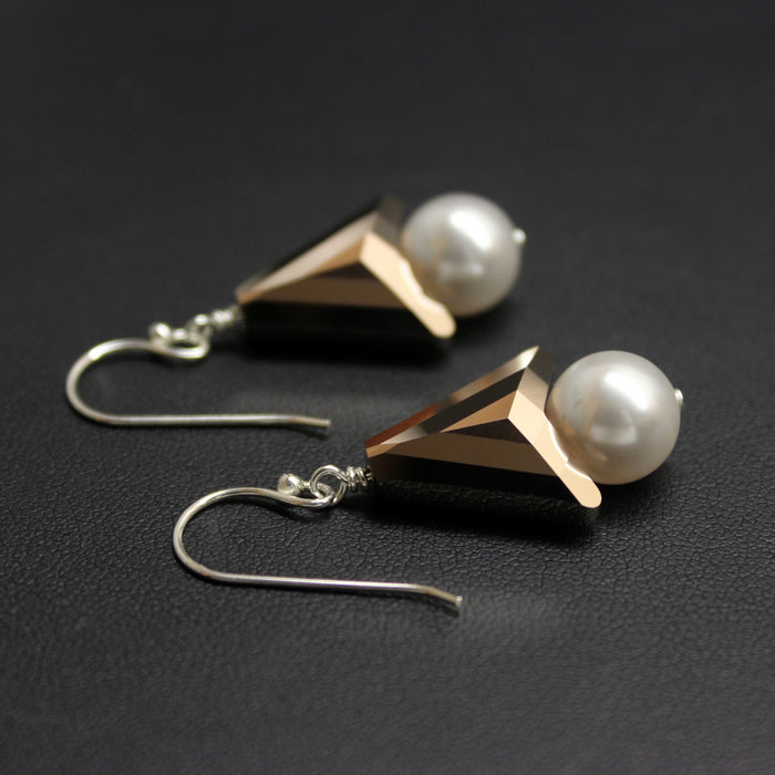 Sterling Silver & Swarovski Crystal Pearl/Arrow Earrings