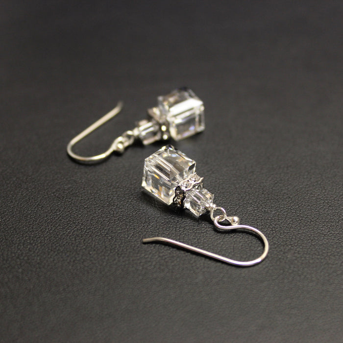 Swarovski Crystal Cube Luxe Drop Earrings