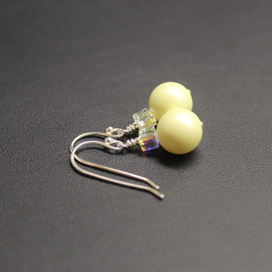 Ballet Swarovski Cube/Pearl Drop Earrings (Pastel Yellow & Aurora)