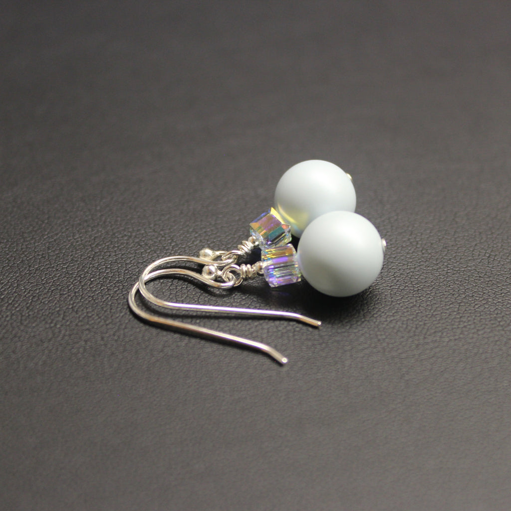 Tango Swarovski Cube/Pearl Drop Earrings (Pastel Blue & Aurora)