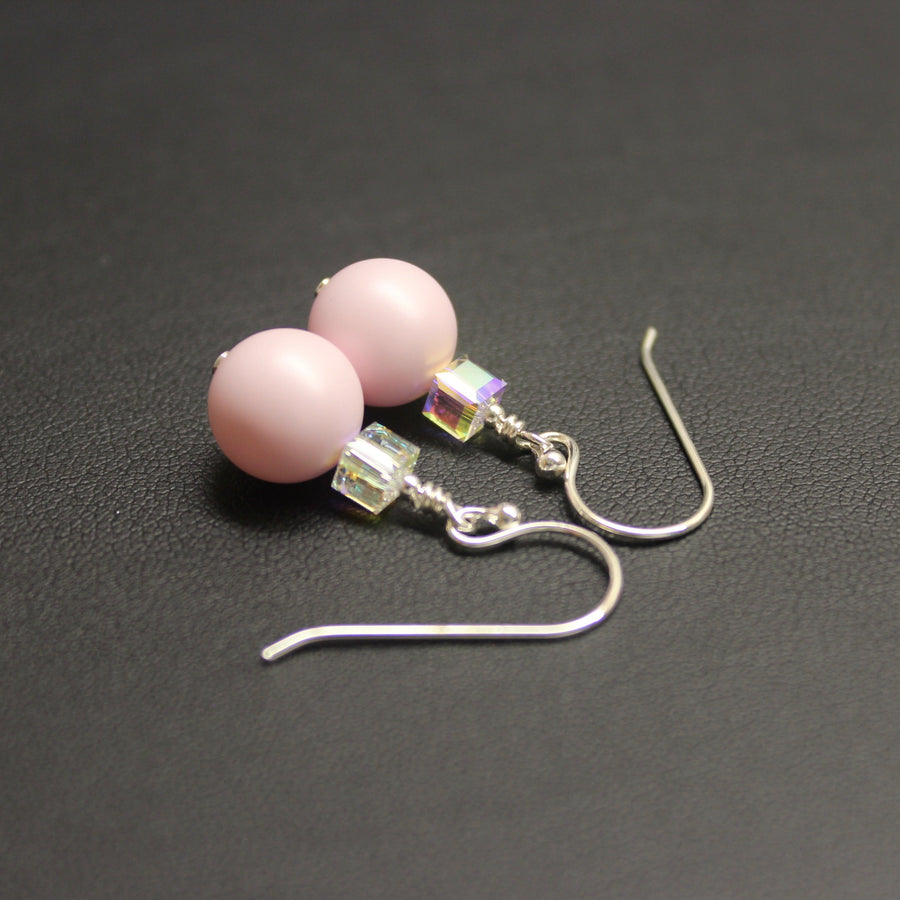 Ballet Swarovski Cube/Pearl Drop Earrings (Pastel Pink & Aurora)