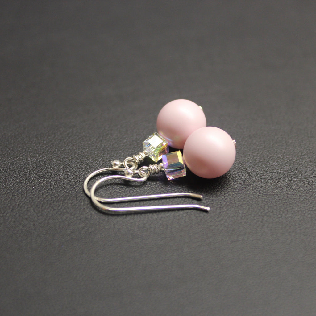 Tango Swarovski Cube/Pearl Drop Earrings (Pastel Pink & Aurora)