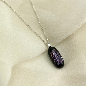 Jazz Unique & Handcrafted Dichroic Glass Pendant Necklace (Purple/Pink)