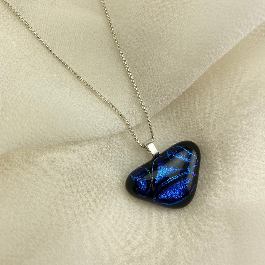 Jazz Unique Handcrafted Dichroic Glass Pendant Necklace (Blue/Purple)
