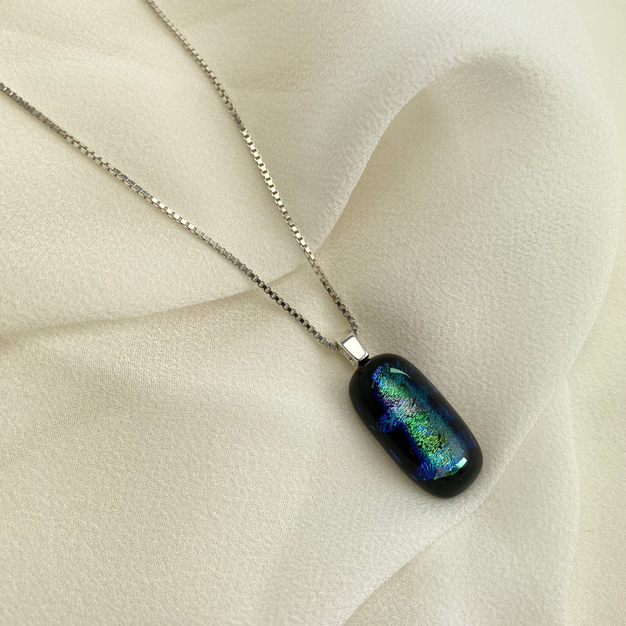 Jazz Unique & Handcrafted Dichroic Glass Pendant Necklace (Blue/Green)