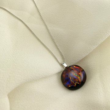 Jazz Unique Handcrafted Dichroic Glass Pendant Necklace (Red/Orange/Purple)