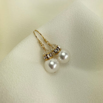 Classical Luxe Swarovski Pearl Earrings in Gold