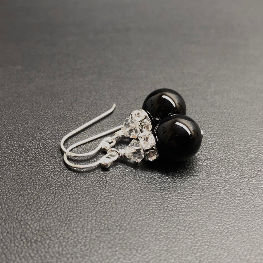Classical Luxe Gemstone Earrings (Black Onyx)