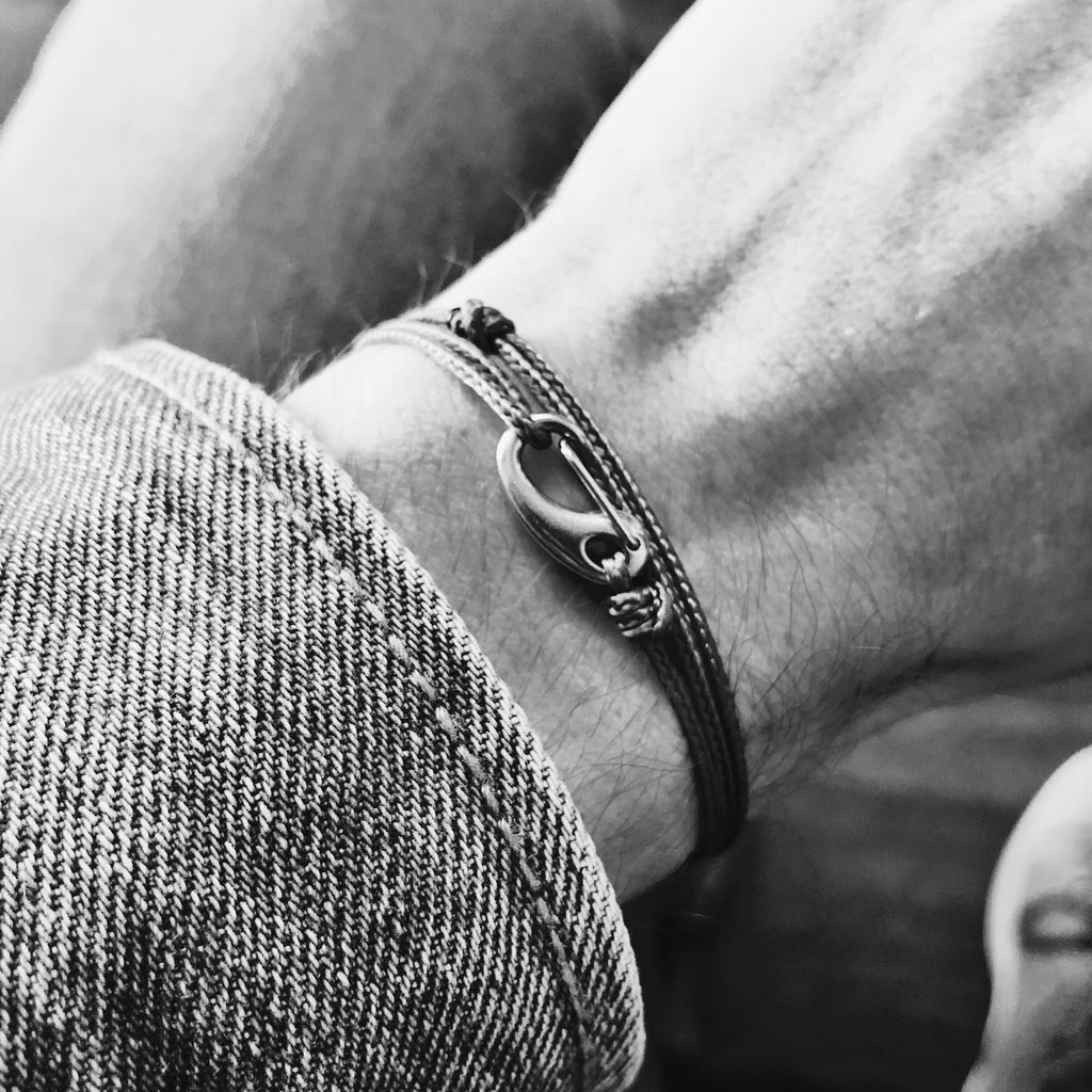 Mens | Micro Cord Adjustable Bracelet in Black Reflective