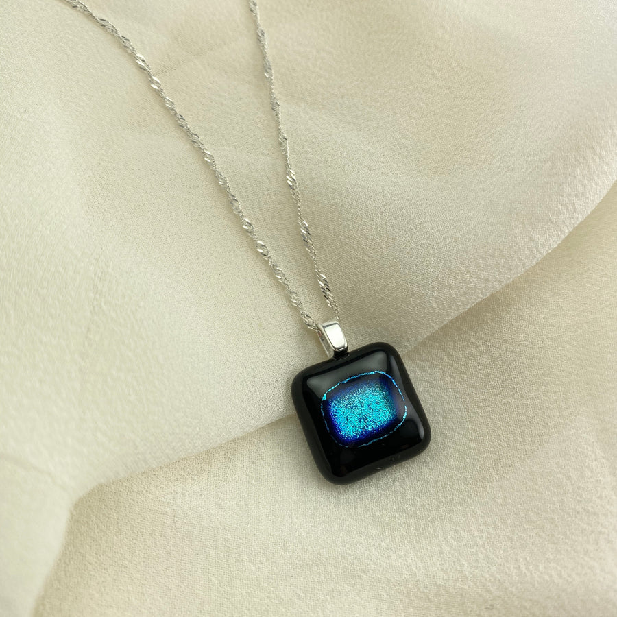 Jazz Unique & Handcrafted Dichroic Glass Pendant Necklace (Blue/Black)