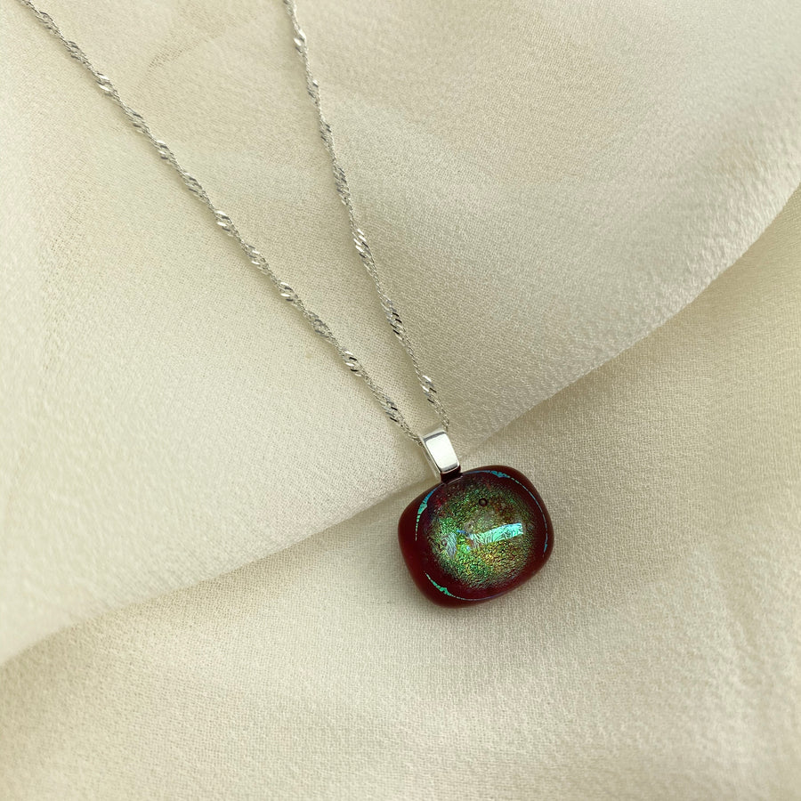 Jazz Unique & Handcrafted Dichroic Glass Pendant Necklace (Olive/Deep Red)