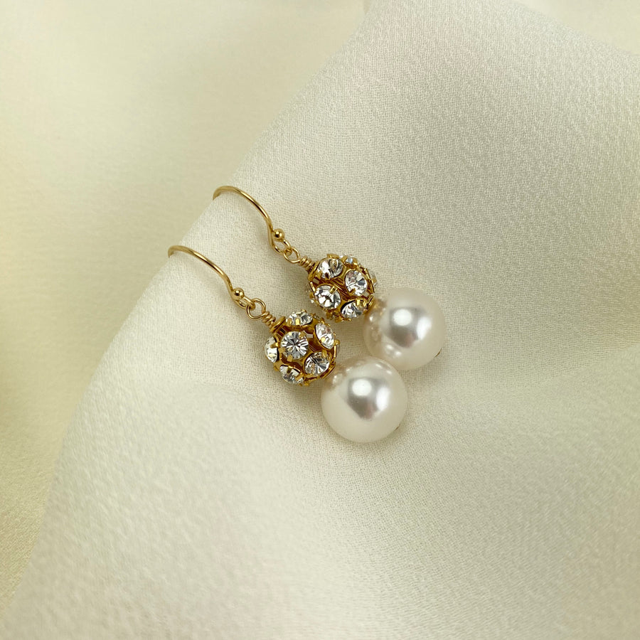 Bolero Crystal & Pearl Duo Earrings in Gold