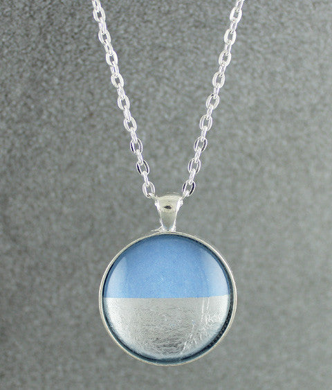 Samba Silver Linings Large Pendant Necklace (Silver & Baby Blue)