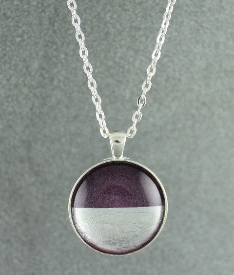 Samba Silver Linings Large Pendant Necklace (Silver & Burgundy)