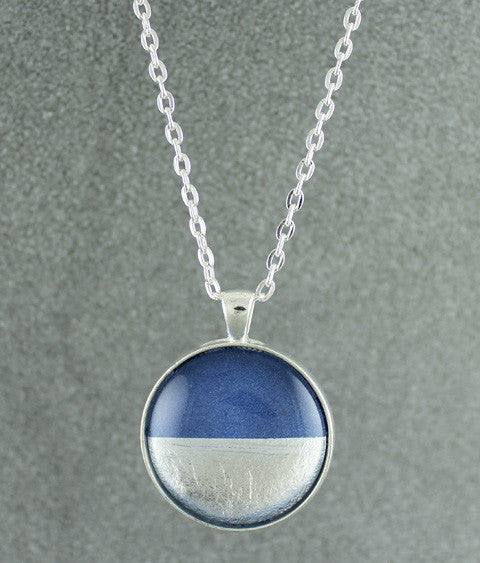 Samba Silver Linings Large Pendant Necklace (Silver & Royal Blue)