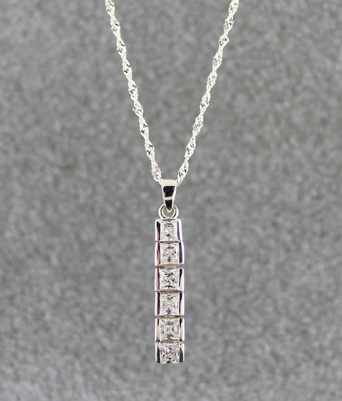 Ballroom (Princess) Drop Sterling Silver Necklace
