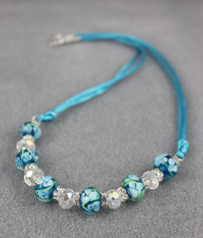 Viennese Floral Blue Art Necklace (Baby Blue)