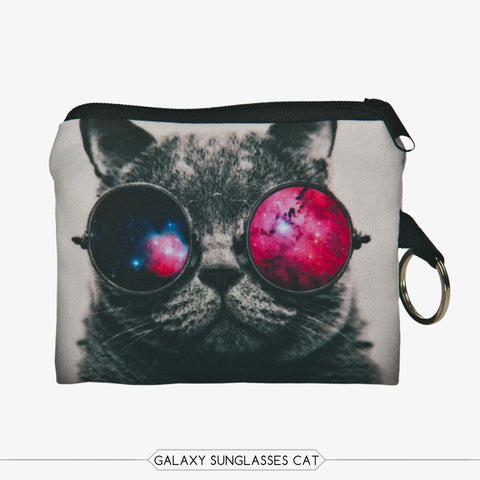 Galaxy Sunglasses Cat Coin Purses-Wholesale Women's Leggings, Wholesale Plus Size , Wholesale Fashion Clothing