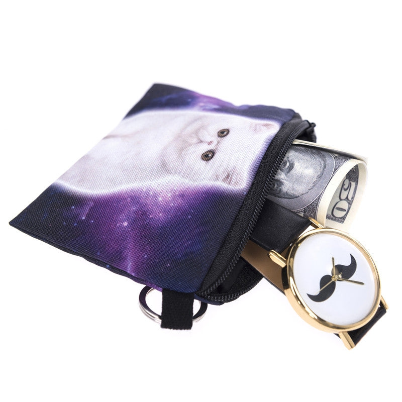 Galaxy White Cat Coin Purses