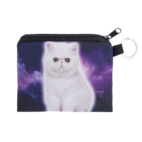 Galaxy White Cat Coin Purses-Wholesale Women's Leggings, Wholesale Plus Size , Wholesale Fashion Clothing