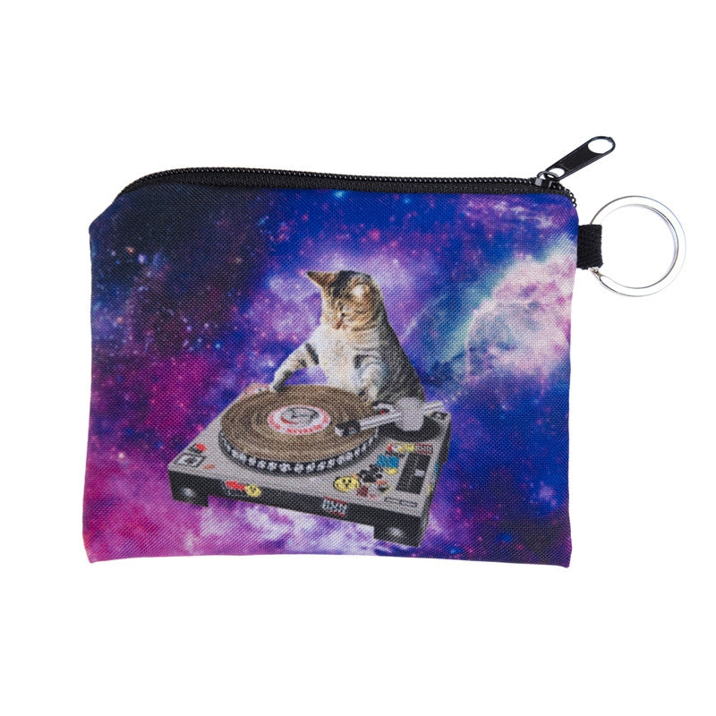DJ Cat Galaxy Coin Purses