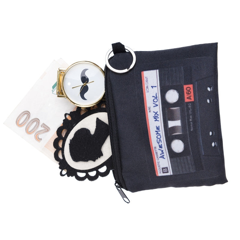 Mix Tape Black Coin Purses