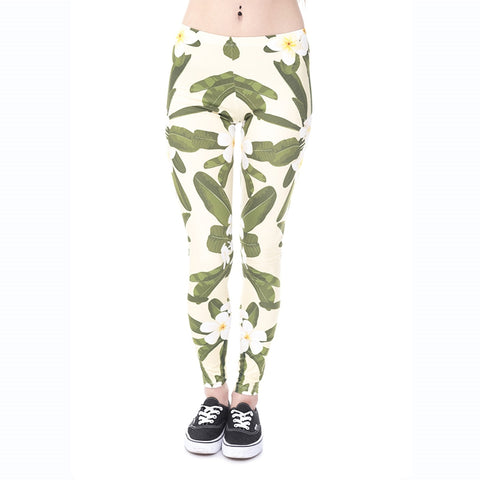 Hawaii Flowers Yellow Regular Leggings-Wholesale Women's Leggings, Wholesale Plus Size , Wholesale Fashion Clothing