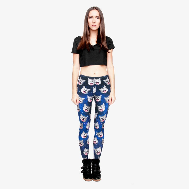 galaxy gray cat Regular Leggings