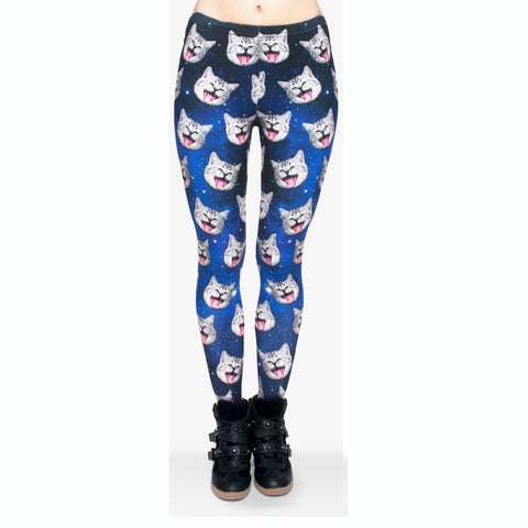 Galaxy gray cat Regular Leggings-Wholesale Leggings UK- Wholesale Women's Clothing- Kukubird Creative Studio